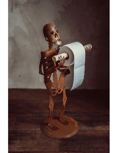 Metall Skelett als Klopapierhalter - Halloween - Höhe 65 cm