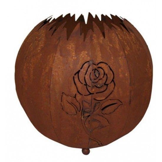Lampen in Edelrost Kugelleuchte Rose 30 cm in Edelrost zum Beleuchten geeignet Traumhaft schöne Schattenprojektionen bei elektri