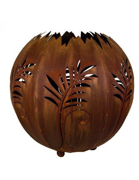 Lampen in Edelrost Kugelleuchte Farn 30 cm in Edelrost (wetterfest)  Traumhaft schöne Schattenprojektionen Durchmesser 30 cm