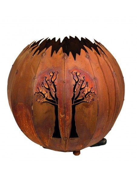 Weihnachtsbaum Metall und Edelrost Kugelleuchte Baum Ø 30 cm in Edelrost Schöne Lampe aus Edelrost für den Innen- und Aussenbere