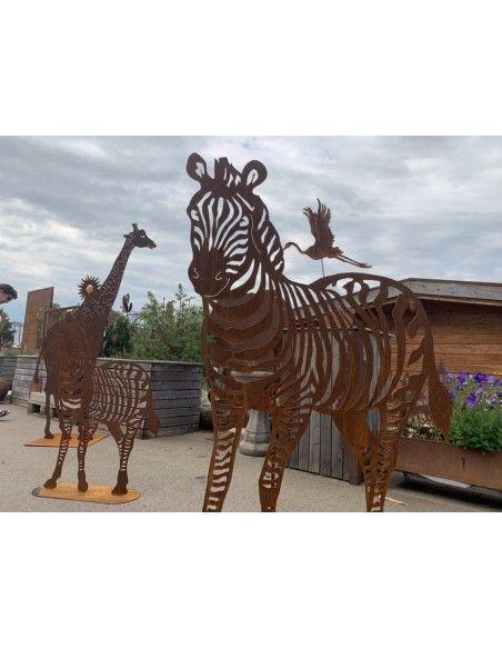 Afrika Edelrost Zebra XXL 150 cm hoch - Metall Gartenfigur Afrika  Zebra in XXL Version für einen großen Garten der Blickfang!