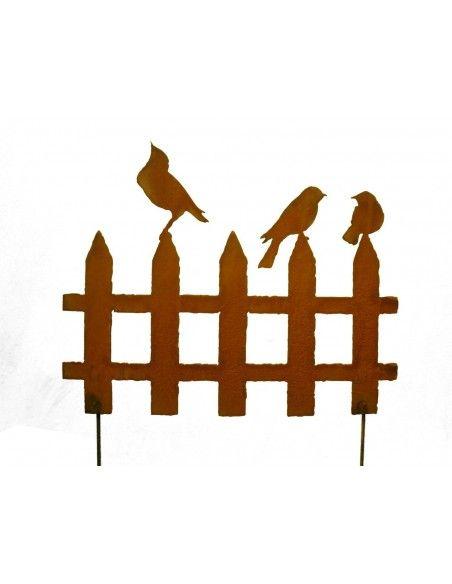 Vogel Deko 2er Set Rost Vogelzaun klein - 50 cm Breit zum stecken niedliche kleine Vogelzäune zum Stecken Breite je Stk. 50 cm
