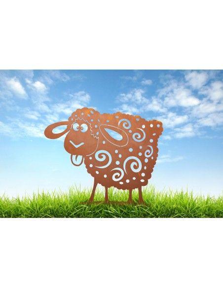 Bauernhoftiere Crazy Deko Schaf Metall - Höhe 40 cm Ein tierisch verrücktes Edelrost Schaf - Crazy Schaf für den Garten Mit die