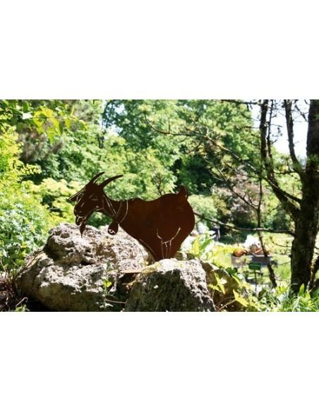 """Schafe +Ziegen Lustige Rost Deko Ziege mit Glocke - klein - Höhe 40 cm Unsere lustige """"Meckerziege"""" für einen fröhlichen Garten"""