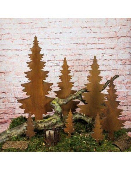 Weihnachtsbaum Metall und Edelrost schlichte Tanne auf Platte 25 x 60 cm Höhe 60 cm Breite 25 cm ohne Muster
