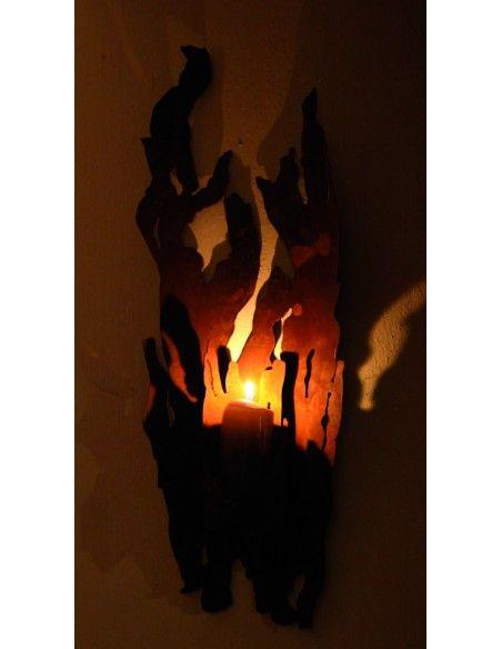 Treibholz Deko - Rost Deko in Treibholz Optik Wandfackel - Treibholz - für Kerzen 54 cm (klein) - rustikale Wanddeko   Treibho