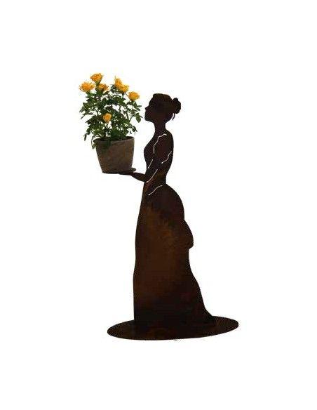 """Kerzenhalter Rankhilfe - Mademoiselle - mit Kleid und Tablett - Höhe 72 cm Rost-Metall Rankhilfe """"Mademoiselle"""" mit geschlossene"""