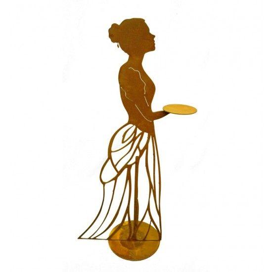 """lebensgroße Figuren Rankhilfe - Mademoiselle - mit Kleid und Tablett - Höhe 125 cm Metall Rankhilfe """"Mademoiselle"""" mit Kleid und"""