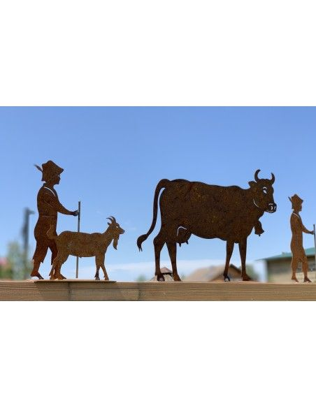 Allgäu Deko Edelrost Deko Kuh klein 30 x 20 cm auf Platte Original Allgäuer Viehscheid Kuh Die Original Allgäuer Rost Kuh in kle
