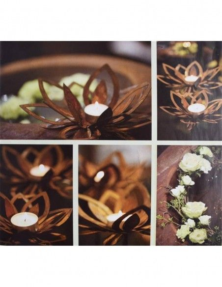 Frühlingsdeko Gartendeko Metall Blüte - Cherie - Ø 23 cm mit Hülse für Stab  in die Mitte passt ein Teelicht kann nach beliebe