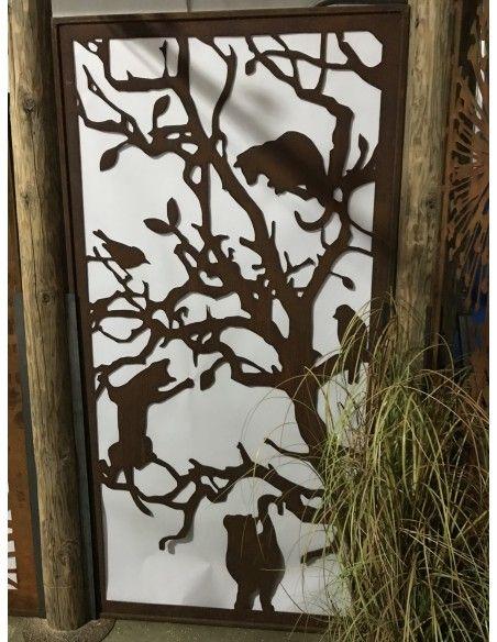 Deko Katzen und Mäuse Sichtschutzwand Katzen - Metall Paravent 200 cm hoch   ausgefallener 2 m hoher Sichtschutz mit Katzenmot