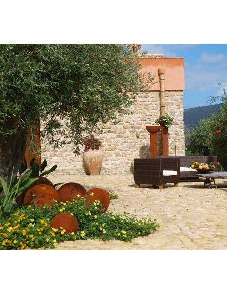 Sommer Kugel Edelrost 30 cm Durchmesser - Gartendeko Kugel modern  geschlossene Edelrost Deko Kugel mit 30 cm Durchmesser Mate