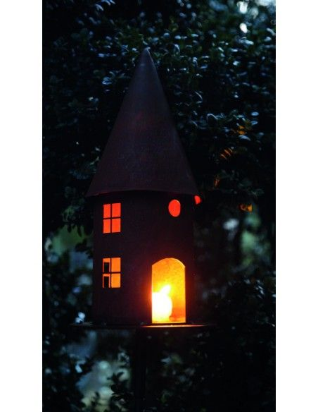 Vogelhäuser Vogelhaus rund Höhe 45 cm  - Vogelfutterhaus mit eckigen Fenstern Dieses Vogelfutterhaus aus Metall mit optionalem S