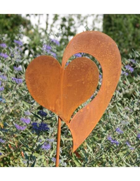 Beetstecker für Frühling und Sommer Edelrost Gartenstecker Herz Christine klein Ø 15 cm rostiger Gartenstecker Herz Gesamthöhe