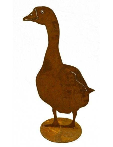 Enten und Gänse Deko Gans Metall - stehend von Vorne 60 cm hoch Höhe 60 cm, auf Bodenplatte