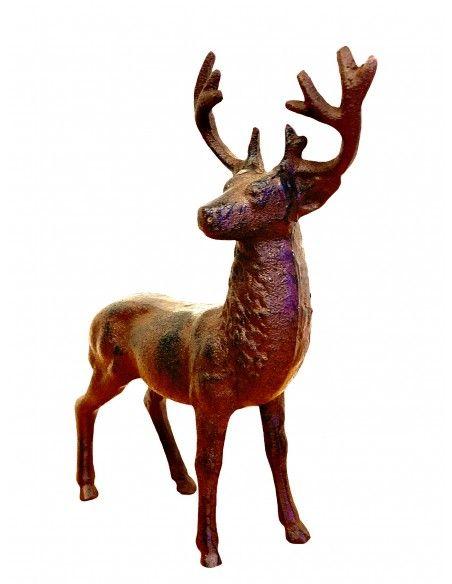 rostige Deko Hirsche und Rehe Deko Hirsch aus Gusseisen - stehend - 24,5 cm hoch  Dieser aus Gusseisen hergestellte Metall Hirs