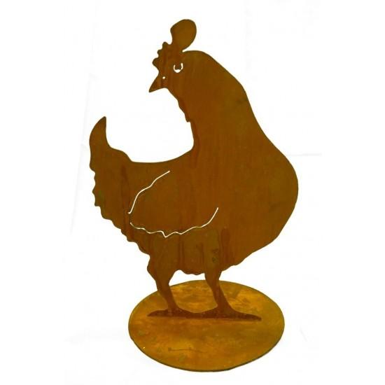 Henne schaut seitlich 40 cm - Edelrost Huhn