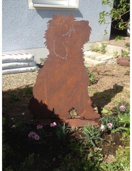 Deko Hunde Deko Hund - Bobby - mit Standplatte  toller Bobtail Dekohund aus rostigem Metall Höhe 60 cm Breite 45 cm mit Bode