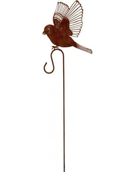 Tierstecker Edelrost Dompfaff fliegend auf Curl- Laternenstab 100 cm  Dompfaff, fliegend auf Curlstab als Laternenhalter für Kr