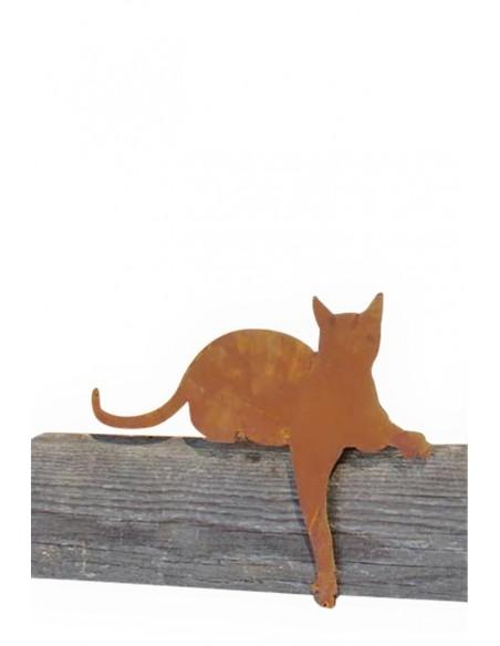 Deko Katzen und Mäuse Katze für Kante Pfote nach unten Katze liegend mit Pfote nach unten 45 cm lang Hinten ist eine Platte ang