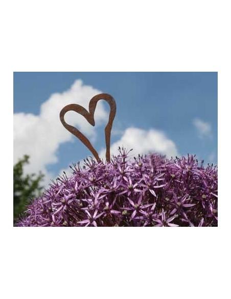 Herzige Dinge - Edelrost Dekoherzen Herz Ministecker hübscher Ministecker für Gestecke und kleine Blumentöpfe Gesamtlänge ca. 17