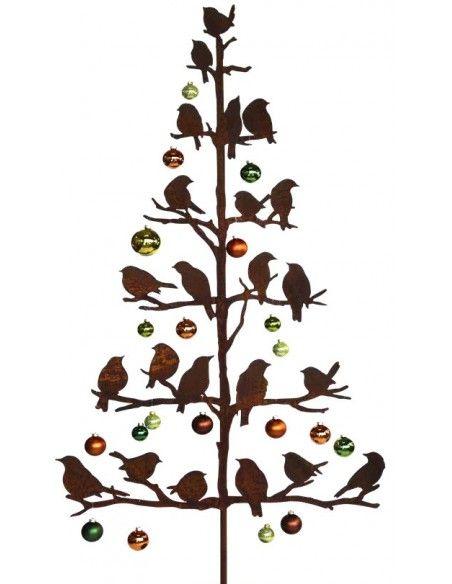 Vogel Deko Vogelbaum mit stizenden Vögelchen auf Ästen 165 cm hoch Höhe 165