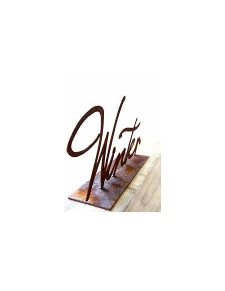 Winterdeko Winter Schriftzug auf Platte - 59 cm breit  Metall Schriftzug mit dem Wort Winter. schöne Deko Idee für Fenster und