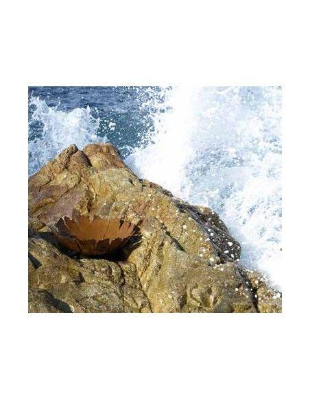 Start Pflanzschale mit Rissen auf Platte  - Blumenschale rustikal - Ø 45 cm  Rustikale Rost Schale mit Rissen zum Bepflanzen od
