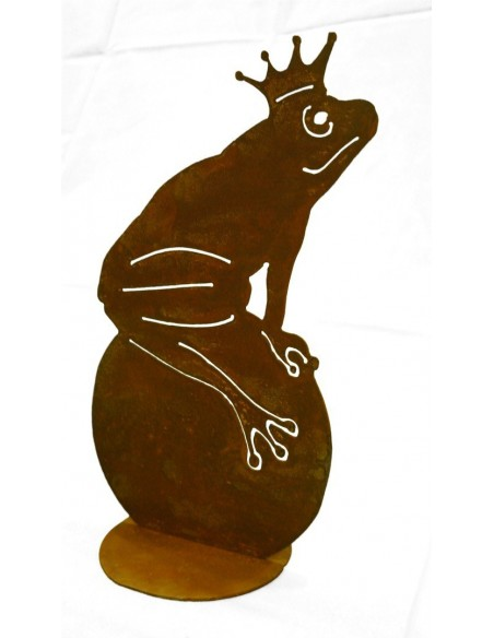 Froschkönig 33,5 cm hoch - Rost Frosch auf Kugel für Teich und Garten
