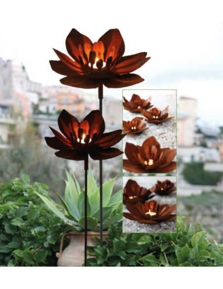 Gartenstecker Blüte Metall Rost Edelrost mit Glas rostige Gartendekoration