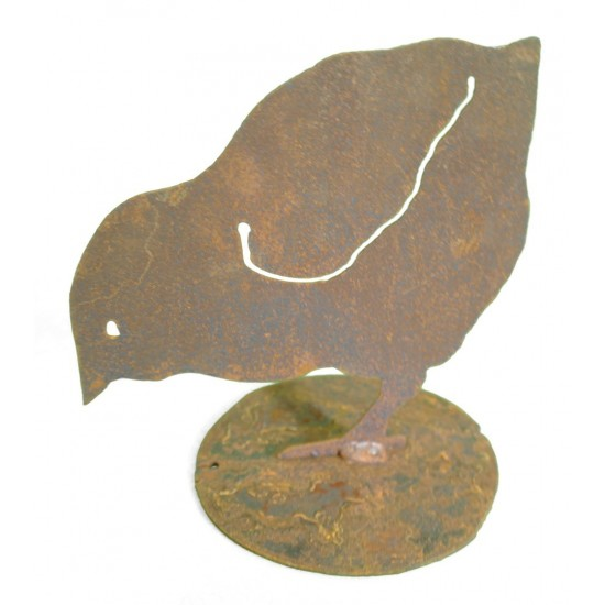 Edelrost Küken pickend, Höhe 13,5 cm
