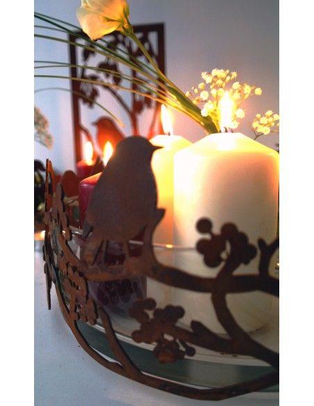 Vogel Deko Vogelring mit Ästen und Beeren Ø 30 cm - Deko Ring für Glasschalen Ø 30 cm Höhe 15 cm