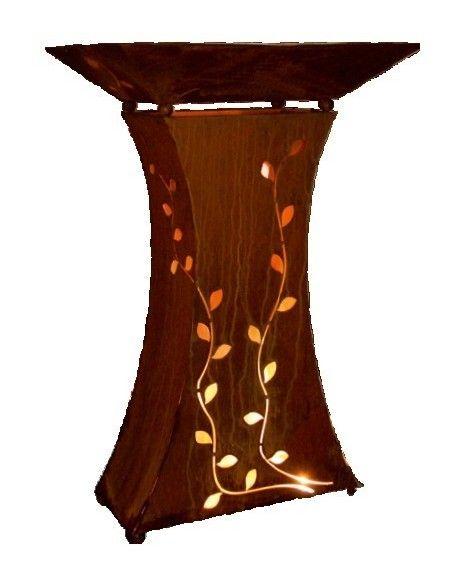 taillierte Säulen Säule mit Blatt 90 cm groß    Höhe ca. 90 cm für Außenbeleuchung geeignet. ohne Schale, die Säule ist obe