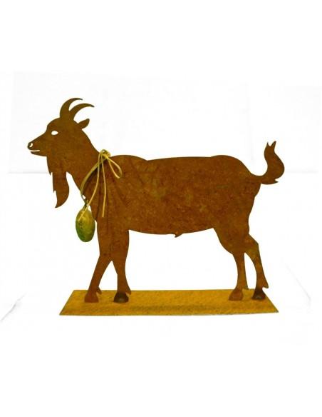 Allgäu Deko Edelrost Ziege mit Glocke 30 cm  - rostige Gaiß schöne Ziege inkl. Glocke auf Platte als Tischdeko, oder für Fenster