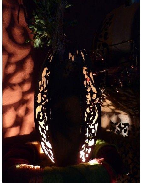 Lampen in Edelrost Garten Leuchte Oval - Mosaik - Höhe 60 cm - für Lichterkette  Diese ovale Gartensäule zum Beleuchten wirkt b