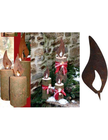 Weihnachtsdeko Flamme 30 cm in Edelrost - große Rostflamme für Baumstamm Rostflamme zum Einschlagen in Holzscheite und Baumstäm