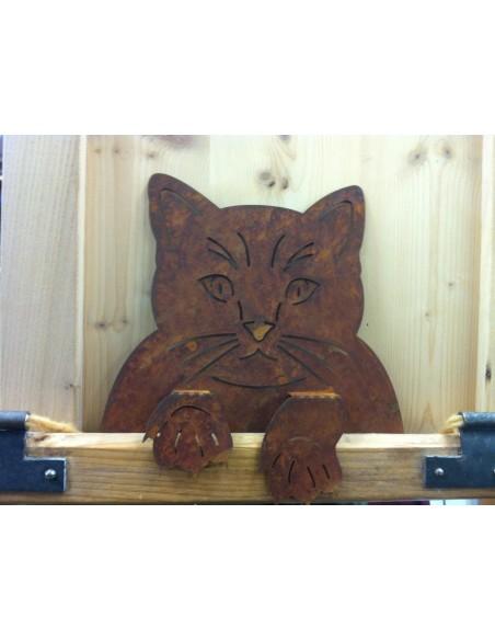 Rost Katzenkopf zum Einhängen an Zäunen und Brettern, Fensterrahmen Deko Katzen und Mäuse