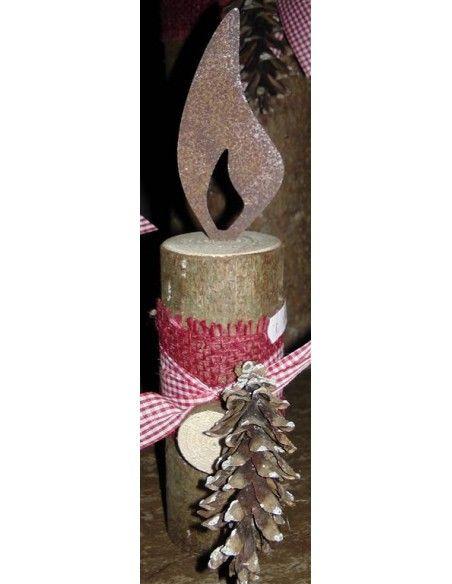 rostige Flammen Edelrost Flamme Höhe 10 cm - zum Holzkerzen basteln Edelrost Flamme Höhe 10 cm  Flamme aus Metall mit Edelros