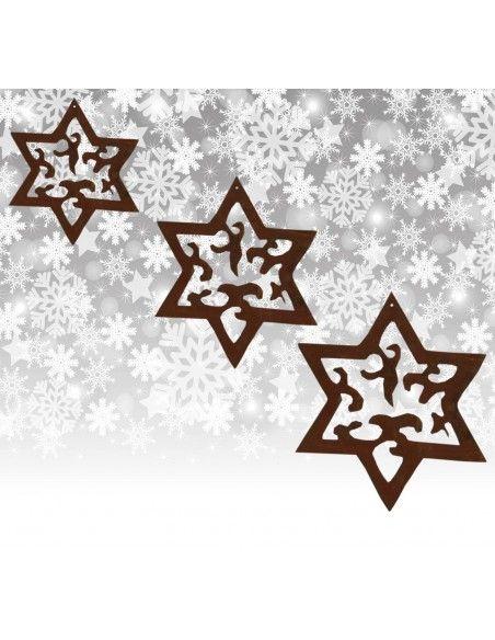 Weihnachtsbaumschmuck und Christbaumschmuck 3 tlg. Edelrost Sternenkette -Madera- Weihnachtsbaumschmuck Set ungefädelt Sternenke