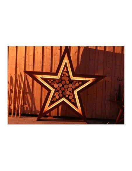 Sterne - Weihnachtstern Deko XL Doppel-Stern -Manila- inkl. LED Licht Ø 120 cm  / Innen 65 cm Ø  Ø Stern 120 cm, Innenstern Ø 6