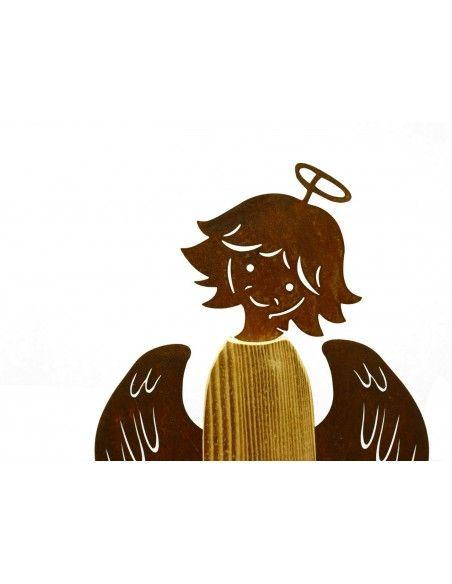 Rost Engel mit Fichtenholz Weihnachtsengel - Babsi - 55 cm hoch  Engelfigur aus Holz und Rost mit süßem Engelsgesicht. Breite