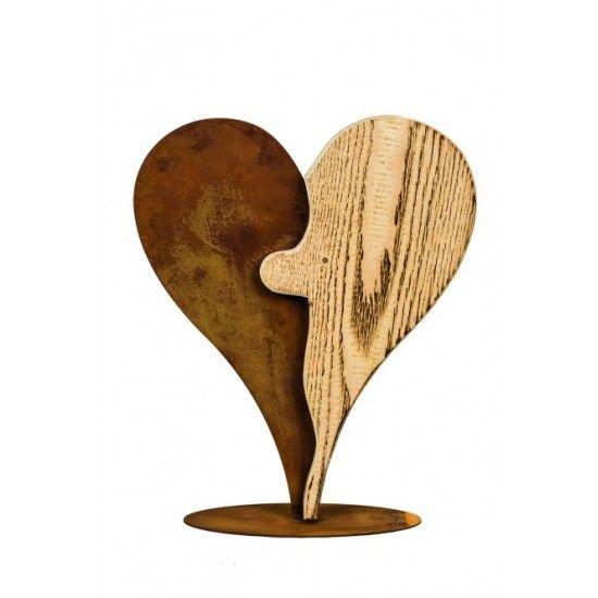 Herzige Dinge - Edelrost Dekoherzen Zweiteiliges Herz Puzzle aus Rost und Holz, Höhe 36 cm edle Kombination aus Holz und Metall