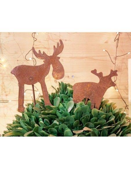 Gartenstecker für Weihnachten Rost Stecker Elch Mini 14 cm hoch mit Stecker ca. 45 cm  Elch 14 cm hoch Breite 12 cm Stablänge