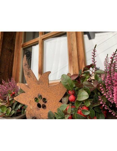 Allgäu Deko Edelrost Edelweiß zum Hängen 25cm breit Maße 25 x 23 cm inkl. Kordel zum Aufhängen