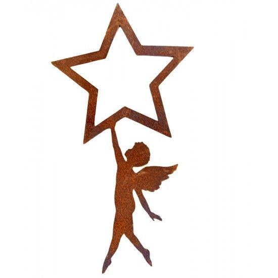 Deko zum Hängen Putte unter offenem Stern zum Hängen - Höhe 22 cm - klein Engelchen zum Hängen (klein)  Höhe 22 cm Breite 12