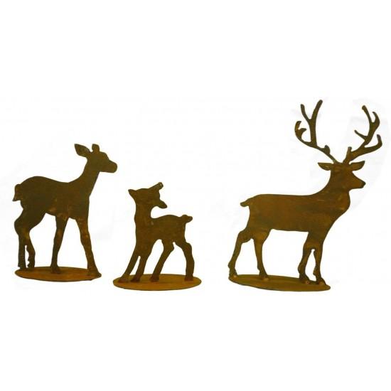 Herbstdeko Rehfamilie 3er Reh + Kitz inkl. Hirsch kleine Variante - Set Liebevoll arrangierte Miniatur-Landschaft bestehend aus