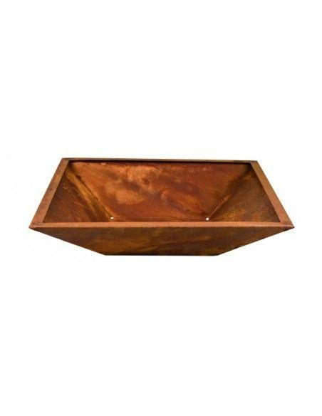 4-eckige Metallschalen Schale Viereck mit Rand 50 x 50 mm  50 x 50 cm Tiefe 11 cm ohne Standfüße - flacher Boden im Boden si