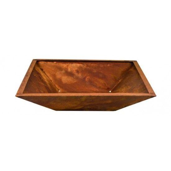 4-eckige Metallschalen Rost Schale Viereck mit Rand 40 X 40 cm  40 x 40cm Tiefe 9 cm flacher Boden - ohne Standfüße