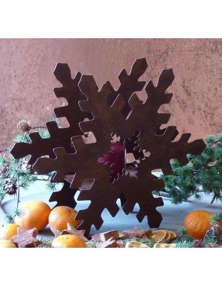 Sterne - Weihnachtstern Deko Tischleuchte Schneekristall klein 25 cm breit  H 22cm, B 25cm, T 7cm, inkl. Teelichtglas.