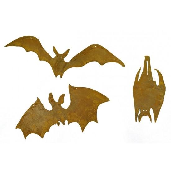 Halloween Deko für den Garten aus Metall Edelrost 3er Set Fledermäuse Dekofiguren - Set Dekoratives 3er Set Edelrost-Fledermäuse